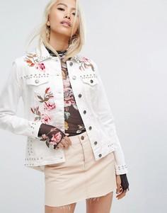 Джинсовая куртка с вышивкой и заклепками Arrive - Белый