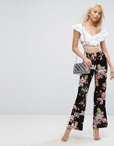 Спортивные брюки в стиле ретро с цветочным принтом и полосой сбоку Arrive - Мульти