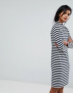 Платье-джемпер в полоску с высоким воротом Vila - Серый