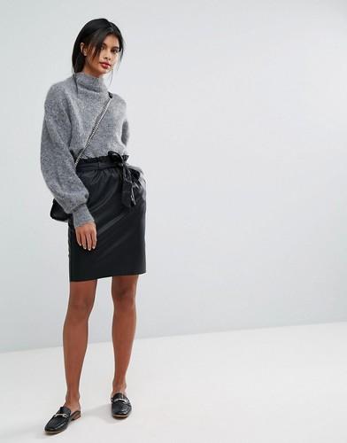 Мини-юбка из искусственной кожи Vila - Черный