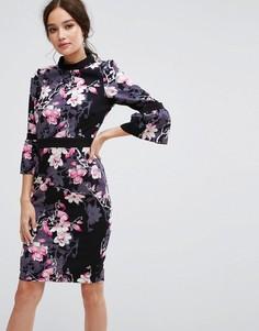 Платье-футляр с длинными рукавами и цветочным принтом Paper Dolls - Мульти