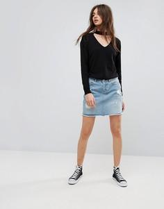 Рваная джинсовая юбка Noisy May - Синий