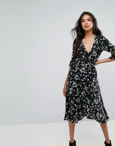 Платье миди с цветочным принтом и оборками Boohoo - Черный