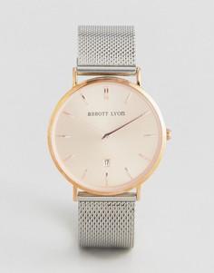 Розово-золотистые часы с серебристым сетчатым браслетом Abbott Lyon Stellar 40 - Серебряный