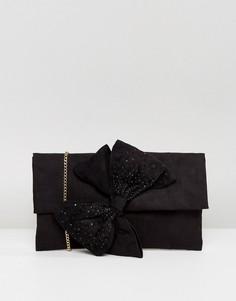Клатч с декоративным бантом и отделкой стразами Lipsy - Черный