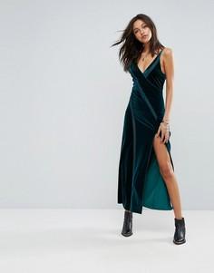 Бархатное платье макси с высоким разрезом Free People - Зеленый