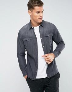 Джинсовая рубашка узкого кроя в стиле вестерн Selected Homme - Серый