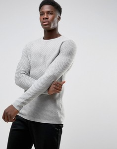 Вязаный фактурный джемпер с круглым вырезом Selected Homme - Серый