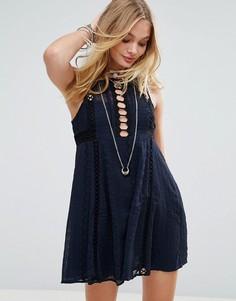 Платье мини Free People Wherever You Go - Темно-синий