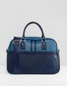 Кожаная спортивная сумка с логотипом Pretty Green - Темно-синий