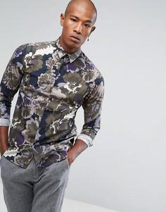 Облегающая рубашка с цветочным принтом Selected Homme - Зеленый