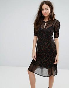 Платье с драпировкой и принтом Miss Selfridge - Мульти