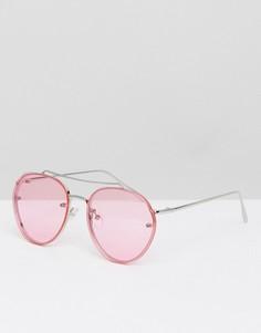 Солнцезащитные очки-авиаторы в серебристой оправе с розовыми стеклами ASOS - Розовый