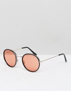 Черные круглые солнцезащитные очки с оранжевыми стеклами ASOS - Черный