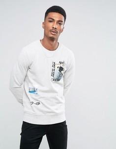 Свитшот с накладкой с принтом Jack & Jones Originals - Серый