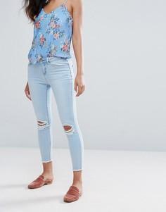 Рваные джинсы скинни с отделкой камнями New Look - Черный