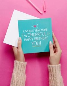 Открытка на день рождения Happy Jackson A Year More Wonderful - Мульти