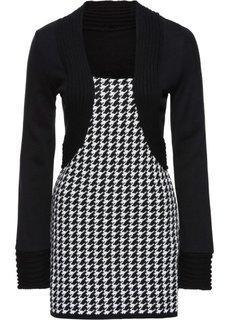 Пуловер с имитацией жакета болеро (черный/кремовый) Bonprix