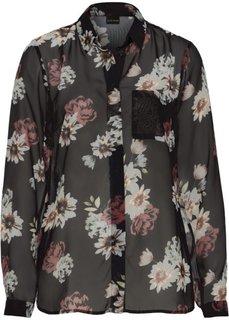 Шифоновая блузка (черный с рисунком) Bonprix