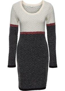 Вязаное платье (кремовый/красный/черный) Bonprix