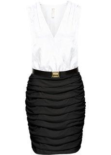 Платье с драпировкой и поясом (черный/белый) Bonprix