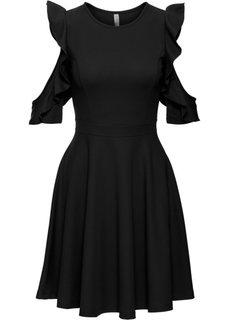 Платье с воланами (черный) Bonprix