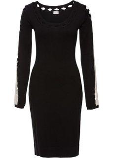 Вязаное платье (черный/белый) Bonprix