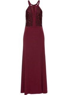 Вечернее платье с кружевом и пайетками (гранатовый) Bonprix