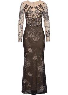 Вечернее платье (натуральный/черный с рисунком) Bonprix