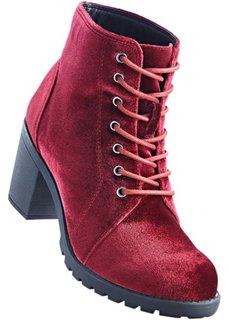Полусапожки на шнурках (бордовый) Bonprix