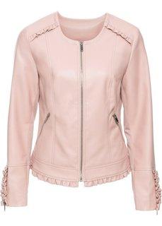 Куртка из искусственной кожи с рюшами (розовый) Bonprix