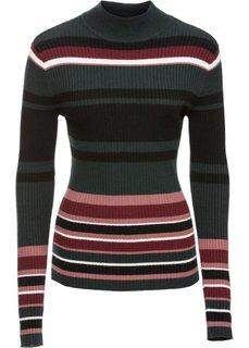 Пуловер в рубчик (черный/зеленый/розовый в полоску) Bonprix
