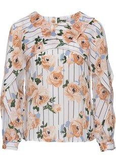 Блузка с принтом и воланами (белый с рисунком) Bonprix