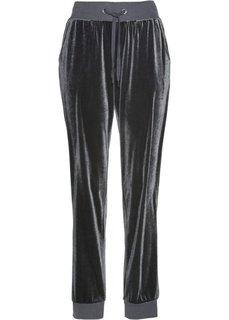 Бархатные трикотажные брюки (серый) Bonprix