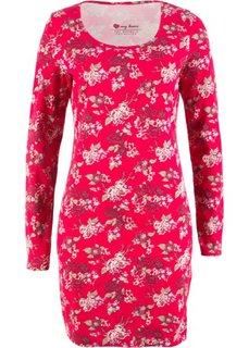 Трикотажное платье стретч с длинным рукавом (красный с цветами) Bonprix
