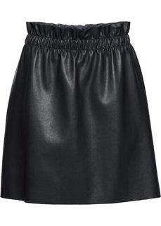 Мини-юбка из кожезаменителя (черный) Bonprix