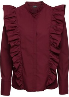 Блузка с воланами (кленово-красный) Bonprix