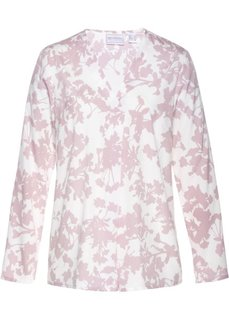 Удлиненная блузка (кремовый/матовый розовый с рисунком) Bonprix