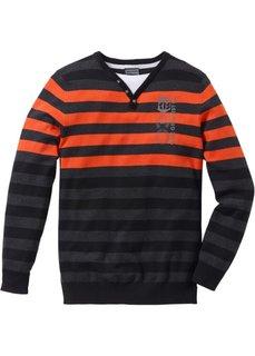 Пуловер Slim Fit (антрацитовый меланж/темно-оранжевый в полоску) Bonprix