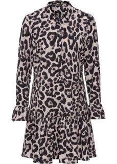 Платье с леопардовым принтом (серый с рисунком) Bonprix