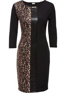 Платье с леопардовым принтом (черный леопардовый/бежевый/коричневый) Bonprix