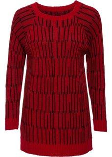 Удлиненный пуловер (красный/черный) Bonprix