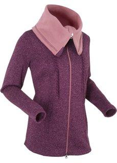 Вязаная флисовая куртка с длинным рукавом (меланж цвета бузины) Bonprix