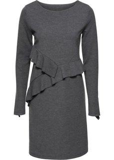 Трикотажное платье с воланами (серый меланж) Bonprix