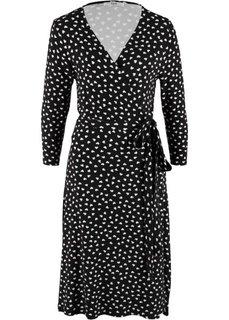 Платье с запахом в сердечко, рукав 3/4 (черный с рисунком) Bonprix