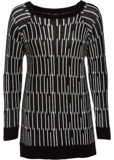Удлиненный пуловер (черный/белый) Bonprix