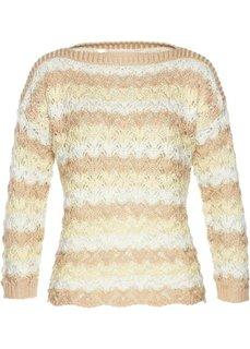 Пуловер (белый/песочный с узором) Bonprix