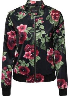 Куртка-бомбер (черный с узором) Bonprix