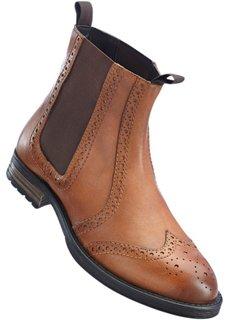 Кожаные ботинки-челси (темно-коричневый) Bonprix