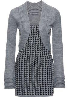 Пуловер с имитацией жакета болеро (серый/черный с узором) Bonprix